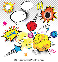 Comic Book Expressions Vector elements