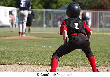 Runner on first base while pitcher is on the mound.