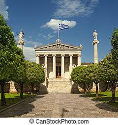 académie, Athènes, statues, Platon, (left),...