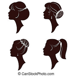 Hairstyles, beautiful women and girls silhouettes