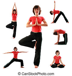 Yoga poses - Set of yoga poses on white background