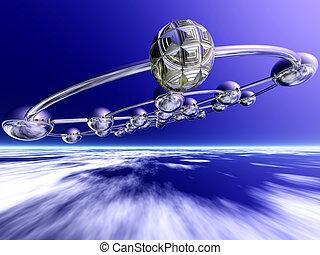 Flight in the upper atmosphere - 3D Illustration - Flight in...