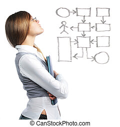 Business woman looking at flowchart - Business woman...
