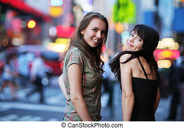 New Yourk City Girls - Two beautiful young women at Times...