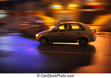 Car at night - Car driving on night street Long exposure,...