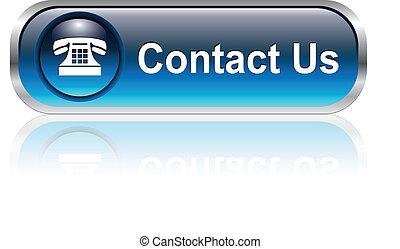 contacto, nosotros, icono, botón