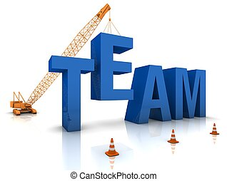 Building a Team - Mobile crane building a blue 3D text Part...