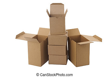 Brown cardboard boxes arranged in stack
