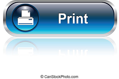 Print icon, button, blue glossy with shadow