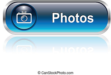 Photo gallery icon, button - Photo gallery button, icon blue...