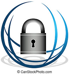 Global Security Icon - An image of a globe and padlock...