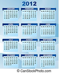 2012 Calendar With Abstract Blue Background