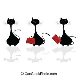 cat with bag vector illustration