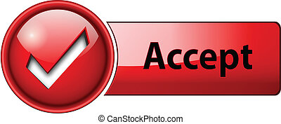 accept icon, button - accept mark icon, button, red glossy.