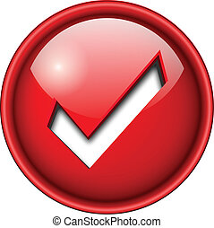 Accept icon, button - Accept mark, sign icon, button, 3d red...