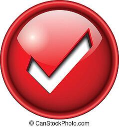 Accept icon, button. - Accept mark, sign icon, button, 3d...