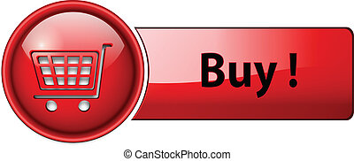 buy icon, button, red glossy.