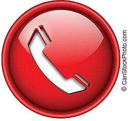 Telephone icon, button. - Telephone, phone icon, button, 3d...