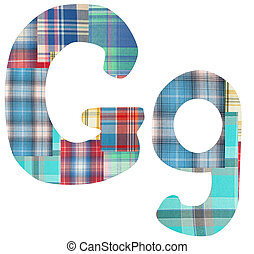 letter - collage letter G of the color patches checkered...