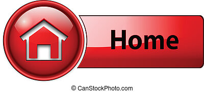 home icon, button, red glossy.