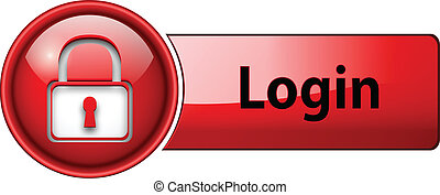 login icon button. - login, padlock icon button, red glossy.