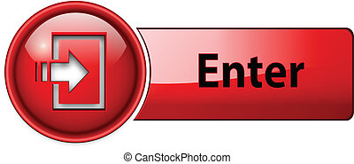 enter icon, button, red glossy.