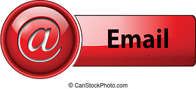 Email icon, button - Email, mail icon, button, red glossy.