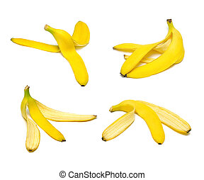 Banana peel set - Ripe and tasty banana peel set isolated on...