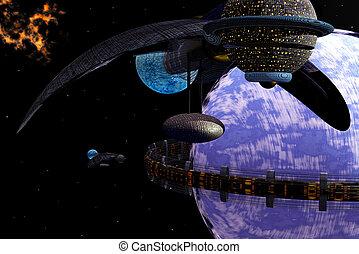 Ring city around planet - 3D alien spacecraft near blue...
