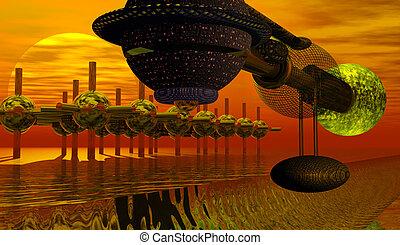 Alien world with spaceship - Alien on strange world with...
