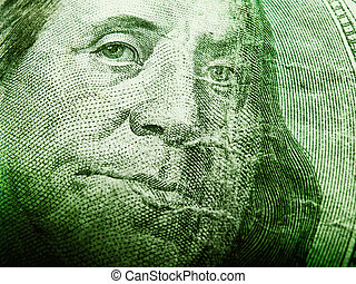 Dollar Bill - Full frame macro shot of Benjamin Franklin on...