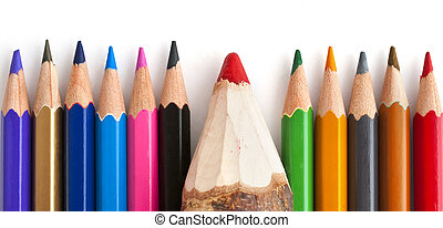 Pencils - Colorful wooden pencils with, one of them is...