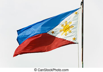 Philippine Flag - Full shot of wind blown flag of the...