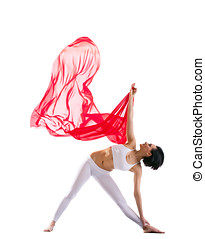 woman exercise yoga asana and red flying fabric - Young...