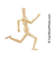 wooden figure running - wooden figure mannequin running...