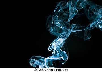 Blue abstract smoke trails