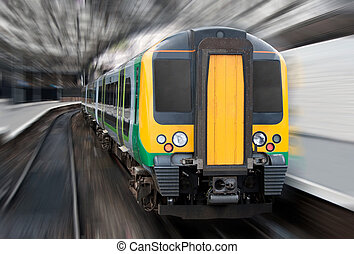 Fast Speed Train with Radial Blur. Commuter Transport -...