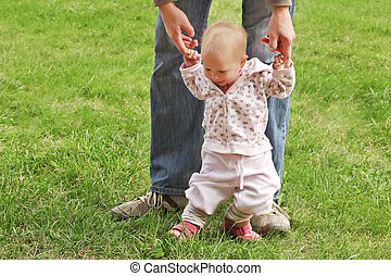 Toddler - Baby learn walking in the park
