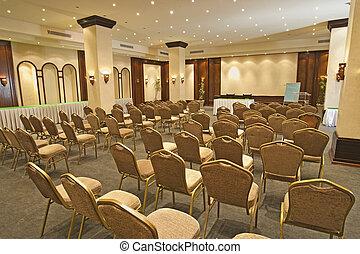 grande, conferencia, habitación