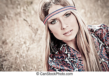hippie - Beautiful young woman hippie posing outdoor