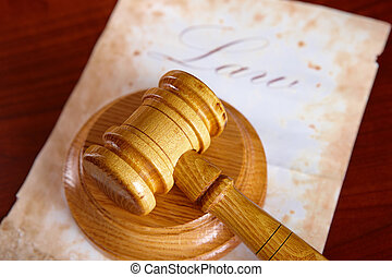 Judges gavel with old paper - Judges wooden gavel with old...
