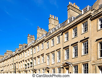 Georgian houses, Bath - Typical row of Georgian sandstone...
