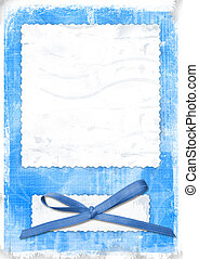 Blue card for greeting in style retro