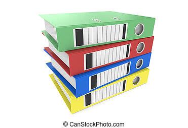 Binders - Pile of Binders. 5 Blue Binders in a pile