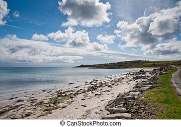 Islay landscape - View of Islay coastline and cairn