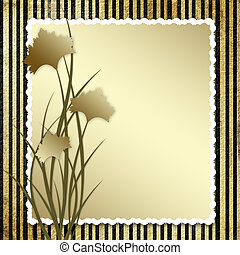 Postcard-invitation with brown carnation to the striped...