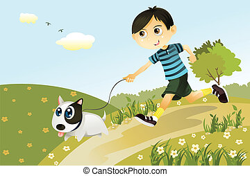 Boy and dog - A vector illustration of a boy and a dog...