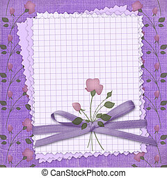 Grunge papers design in scrapbooking style with bow.