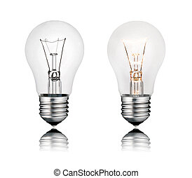 Two Lightbulbs On and Off with Reflection Isolated
