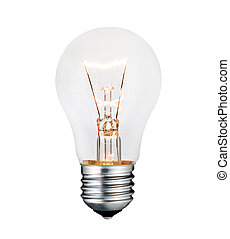 Glowing Lightbulb Photo Isolated on White Background - Idea...